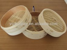 Chinese 3 Pieces Bamboo Steamer Cooker, Bamboo Basket 4 inch 6 inch 8 inch Set