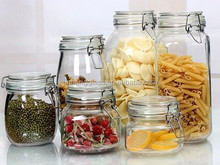 Clip top glass jars with hinged lids