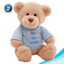 Custom wholesale stuffed teddy bear with blue t-shirt and logo cute cheap teddy bear plush