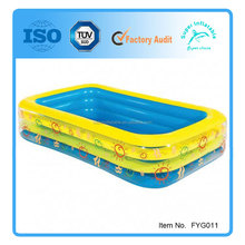 3 ring large square inflatable pool