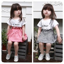 Kids Girls alphabet solid color t grid vest skirt suit