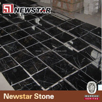 Polished marble black and white tiles