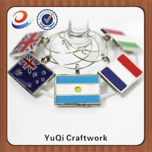 Trade Assurance national flag metal wine charms with custom