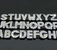 Cheap 8mm rhinestone metal alphabet slide letter charm