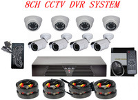 kit camaras de seguridad inalambrica & 8CH DVR 1000TVL IR-Cut webcam System with remote control
