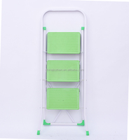 safety three step folding ladder with handrail, new EN 131 certificate steel ladder