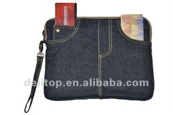 Blue Jeans Style Soft Pouch for iPad/ iPad 2 with dark blue