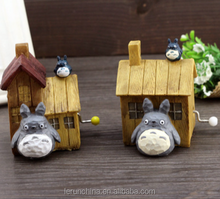 China Hand vintage wooden music box totoro log house music box shape gifts creative birthday gift