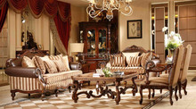 American Style Hand Carved Furniture Leather Sofa Set