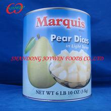 pera en conserva en cubitos en almíbar o en jugo