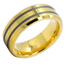 Two black lines 18K gold plated mens tungsten wedding rings