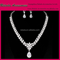 Factory wholesale Elegant Wedding Jewelry Crystal Bridal Necklace Earring Jewelry wedding Sets for fashion jewelry 2015