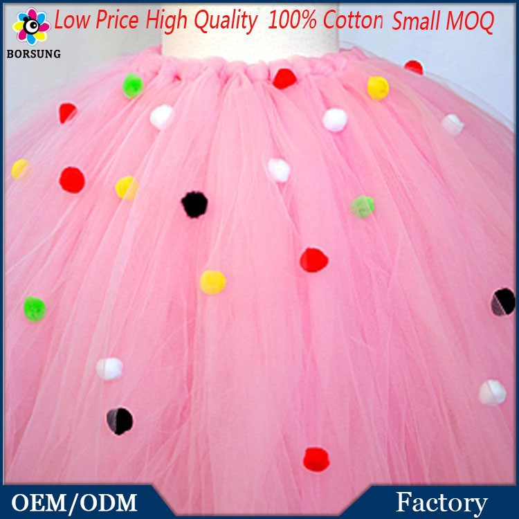 High Quality Factory Price Summer Pink Tulle Party Tutu Skirt / Embroidered Colorful Polka Dots Tutu