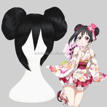 High Quality 30cm Short Black Love Live Nico Yazawa Hair Wigs Synthetic Anime Ponytails Cosplay Wig