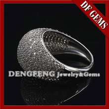 AAAAA White CZ Mirco Pave Setting Ring 925 Sterling Silver Jewelry