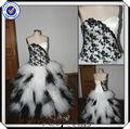 jj2904 beaded balón vestido más el tamaño de encaje negro y blanco vestidos de novia