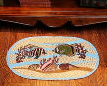 printed sea fish jute braided foot rug, carpet rug, door mat rug