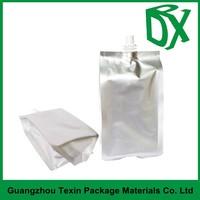 Aluminum foil drinking water plastic pouches with spout top, spout pouch