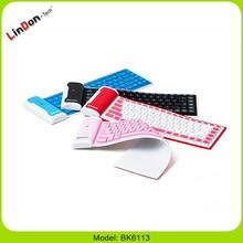 Waterproof Mini Folding Flexible Silicone Wireless Bluetooth Keyboard for iPad