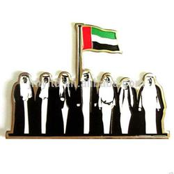 Design top sell custom metal uae expo souvenir badges