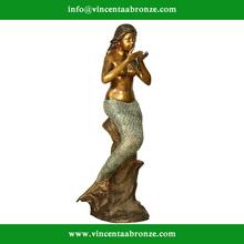 2015 high quality garden decor bronze denmark the little mermaid