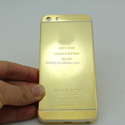 Golden 24K replacement parts for iphone 5 5s back cover housing like iphone 6