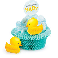 Yellow Ducky Paper Honeycomb table centerpiece baby shower 1st birthday party decoration