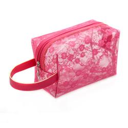 Transparent clear PVC travel toiletry kit bag, lace chiffons grooming travel cosmetics bag organizer, travel makeup shaving bag