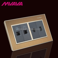 Hot selling multi socket satin metal switch Wall Switch OEM accept