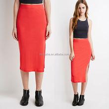 Latest Korean styles a line split out skirt cotton midi skirt for ladies HSS7560