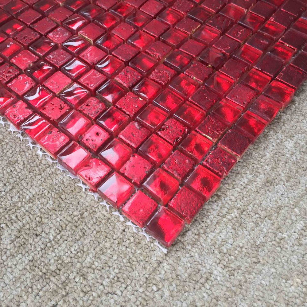 Red Glass Stone : Square red glass mix stone mosaic tiles buy
