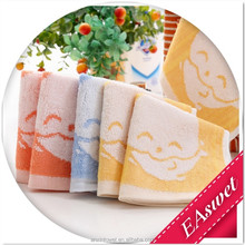 Zero-Twist and Bamboo Fiber 25*25cm Square Face Towel Dobby Yarn Dyed Jacquard with Rabbit