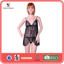 Sexy Fashion Black Transparent Adult Lingerie