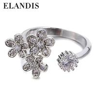 E-ELANDIS 2015 new design rings silver jewelry floret diamond ring adjustable ring