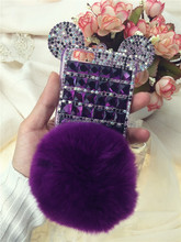 2015 New Design Rabbit Tail fur phone cover Silicone with Crystal mobile phone case Case for iphone 6 6 plus