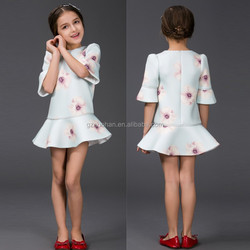 European and American fashion girls dress small pure and fresh and horn sleeve girls' dress