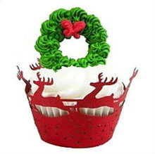 12X Red Christmas Elk Laser Cutting Cupcake Wrappers Wraps Wrappers Wedding Favor Decorations