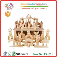 Wholesale 88pcs Nature Color Baby Building Blocks in Beech wood Cabinet