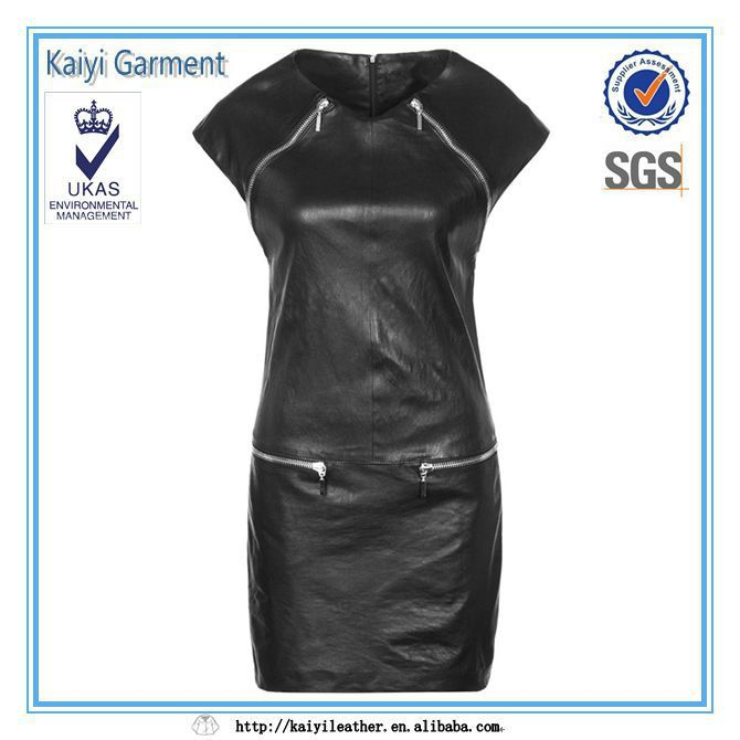 nuevo estilo de moda al por mayor negro maduro de cuero dama vestido de corto