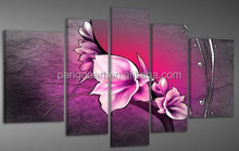 5 Panel Group Red Color Lotus Flower Painting