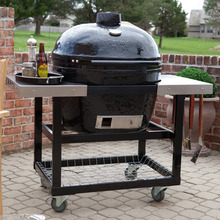 New XL Oval Ceramic Kamado Charcoal Grill with Sturdy Cart New Smoking,Searing&grilling for Outdoor Barbecue