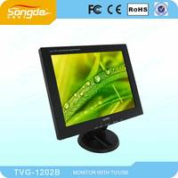 12inch LCD VGA monitor with black color and rotary stand