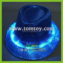 Fashion Colorful Led Fedora Hat Glow In The Dark Hat With 10Leds
