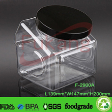 2.9L large plastic pickle container with cap, clear wide-mouth plastic food jars, big special shape plastic bottle wholesale