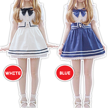 New Navy Denim Strap Dress with Lace Lolita Harajuku Fashion Cosplay 2 Colors KK797