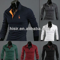 NEW Men Stylish Slim Fit Long Sleeve Casual POLO Shirt T-shirts Tee Tops1399- T03