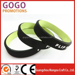 Hot sale custom fitness sports Dual Layer silicone bracelet, basketball Dual Layer silicone wristband fashion design factory
