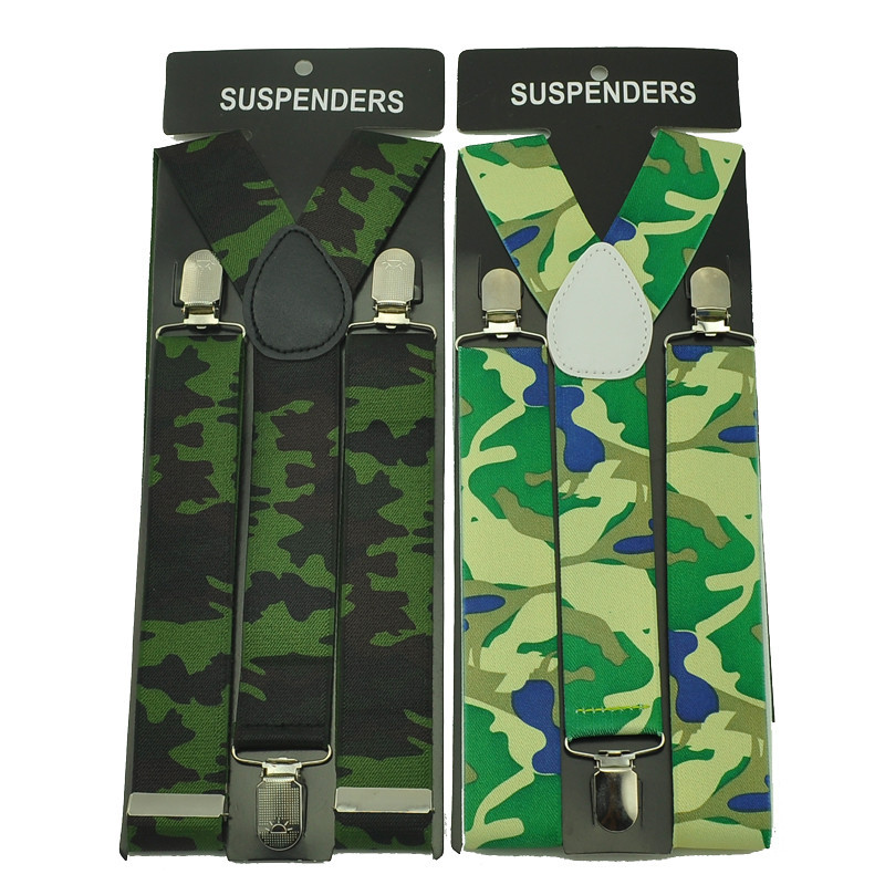 "Men's Unisex Clip-on Braces Elastic 3.5cm Wide ""Army  Camouflage"" pattern Suspenders/Gallus/Belt For Женщины`s  & Retail"