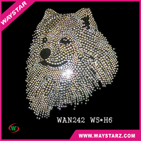 Happy And Friendly Dog Head Crystal Rhinestone Heat Press Supplies For Garment