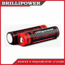 Brillipower high amp 18650 rechargeable 2500mah 1x18650 lithium rechargeable battery